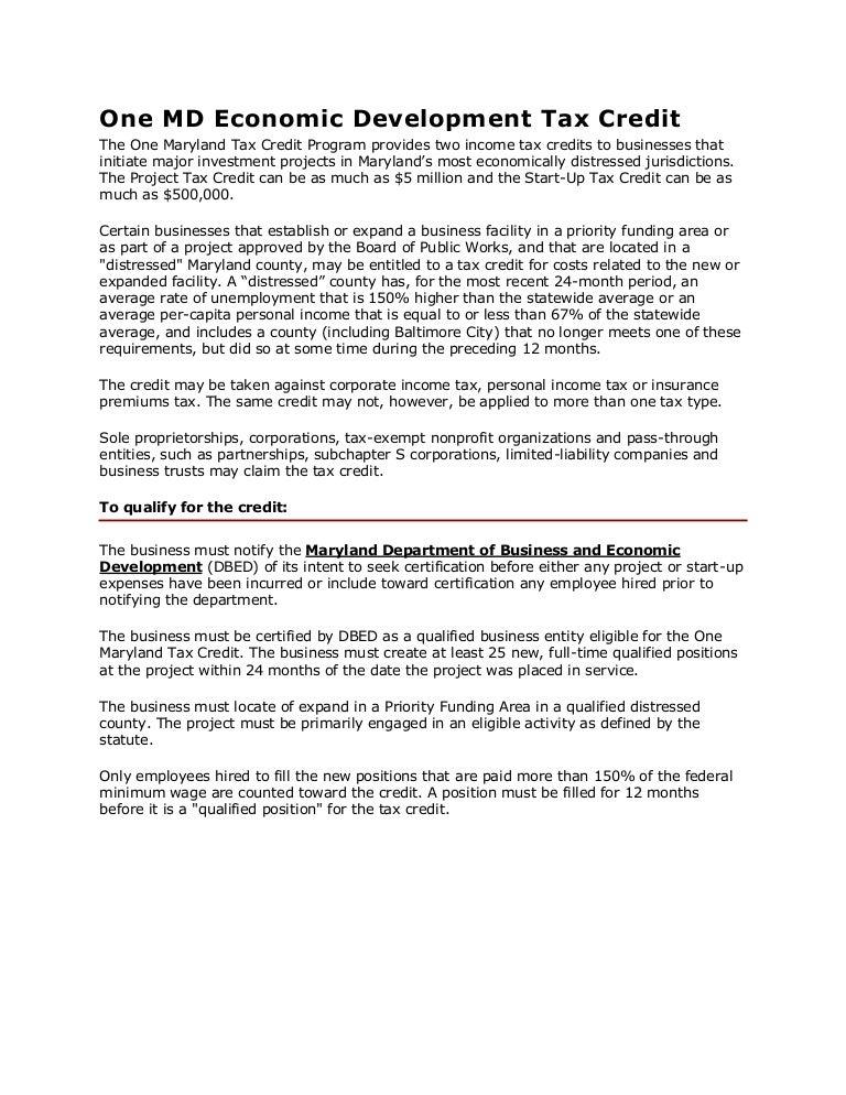 One Maryland Economic Development Tax Credit