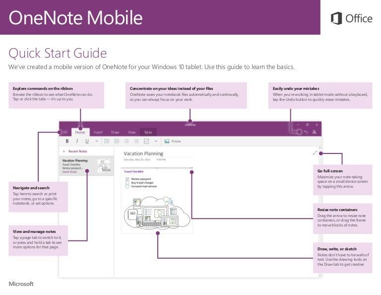 Microsoft Onenote Mobile Quick Start Guide