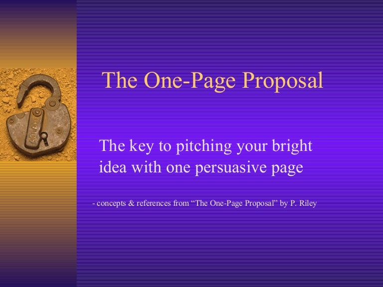 the one page proposal