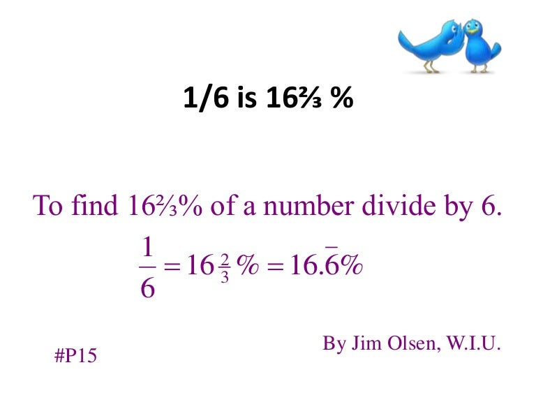 what is the percentage of one sixths