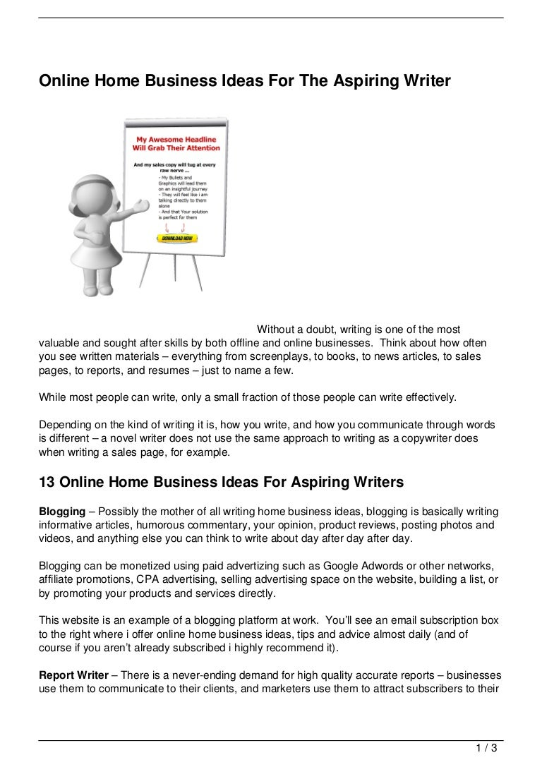 Online Home Business Ideas For The Aspiring Writer