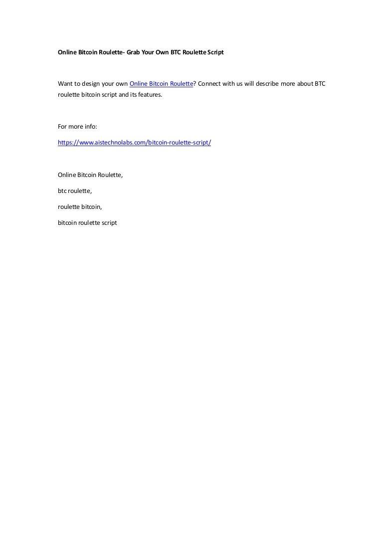 bitcoin roulette script cumpărați codul portofelului cu bitcoin