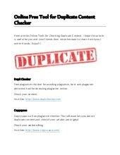 Online Free Tool for Duplicate Content Checker