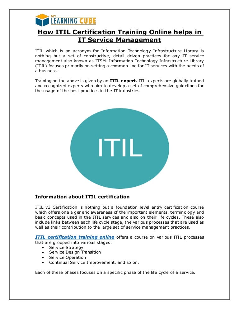 Online Itil Certification And Training