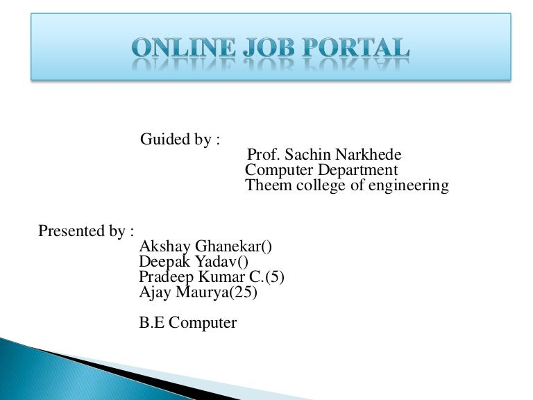 online job portal project in php ppt free download