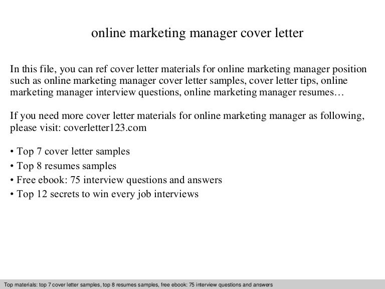 Online marketing manager cover letter