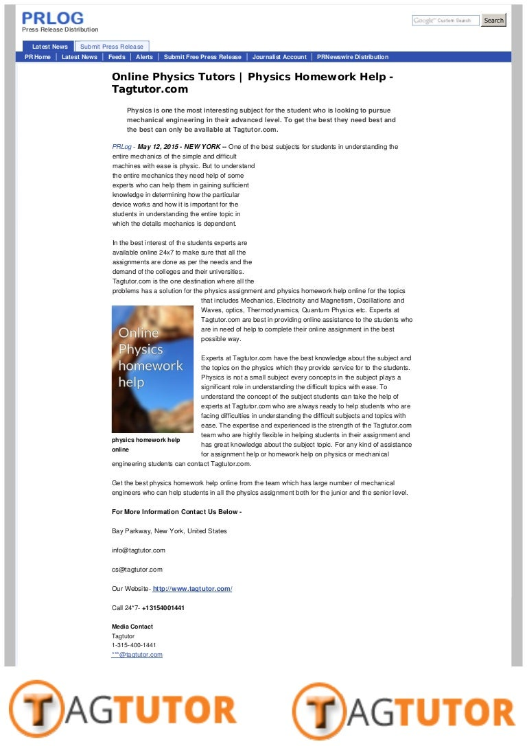 Online physics homework help