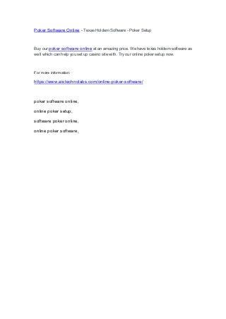 Poker Software Online - Texas Holdem Software - Poker Setup