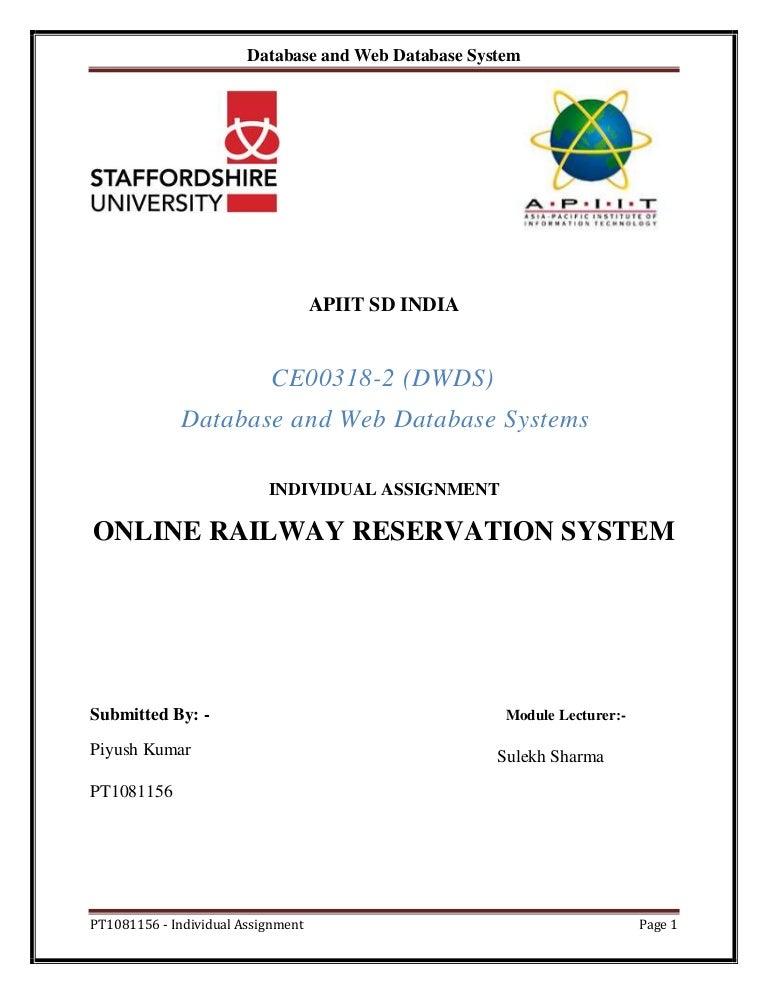 Online Railway Reservation System