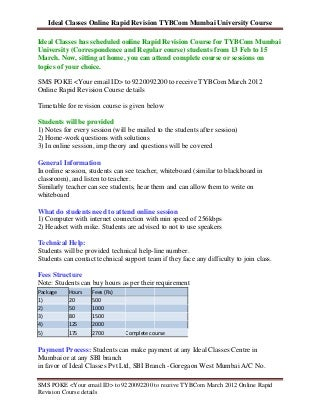 TYBCom March 2012 Online Rapid Revision Course (Mumbai University)