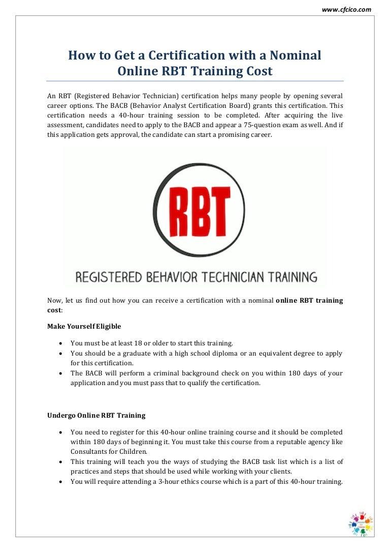rbt training cost bcba certification