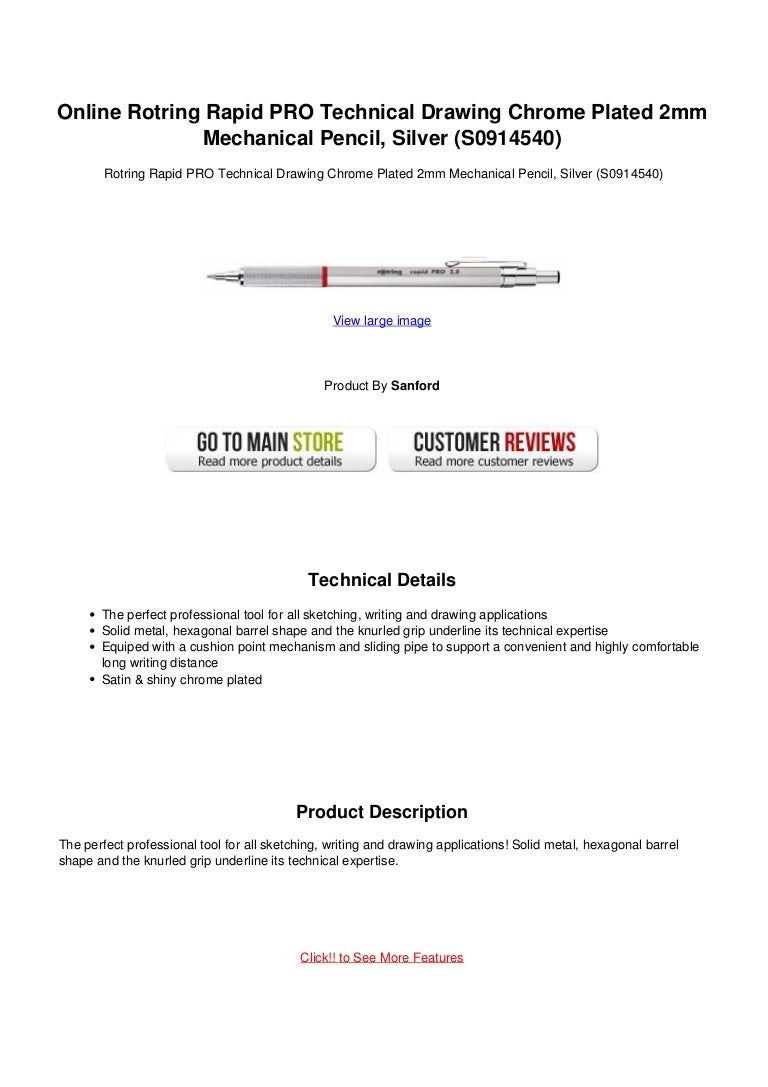 Online rotring rapid pro technical drawing chrome plated 2mm mechanic…