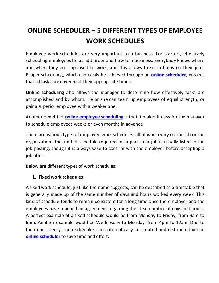 online scheduler 5 different types of employee work schedules