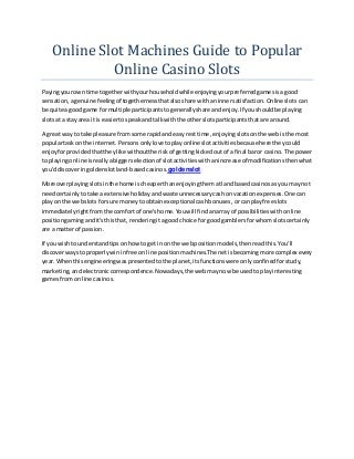 Online slot machines guide to popular online casino slots