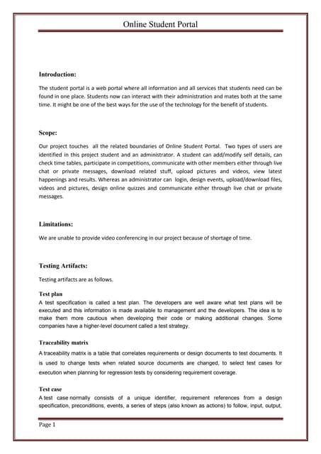 student portal thesis