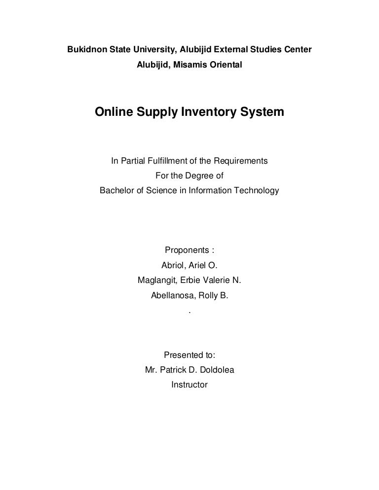 thesis proposal inventory system