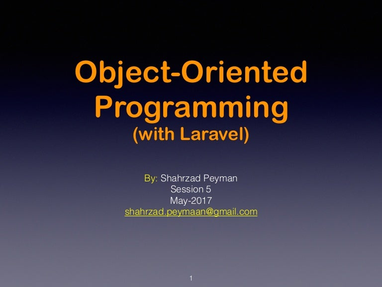 Object Oriented Programming with Laravel - Session 5
