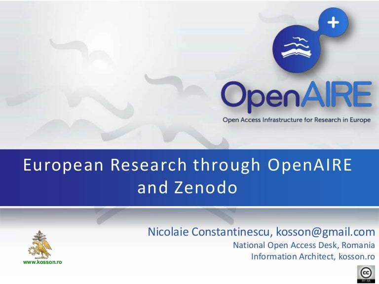 Open Access to research through OpenAIRE+ and Zenodo