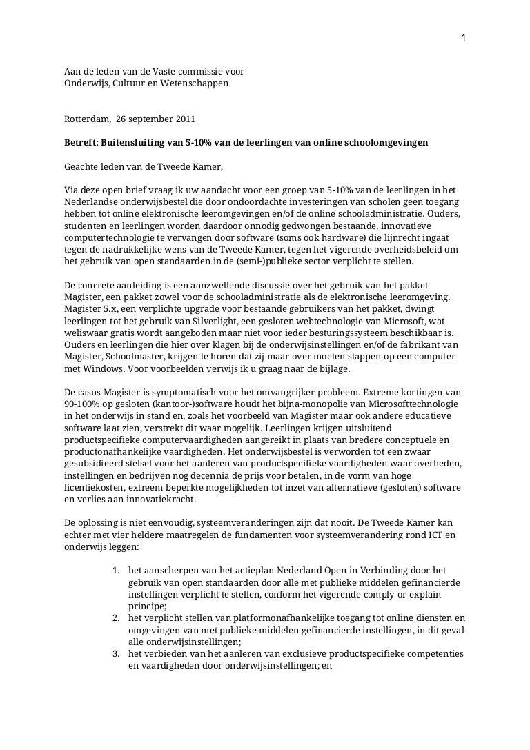 Open brief inzake buitensluiting 5 10 procent leerlingen 26092011