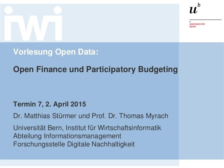 Open Data Vorlesung 2015: Open Finance und Participatory Budgeting