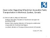 Open Letter Regarding Wheelchair Accessible Public Transportation In Montreal Quebec Canada