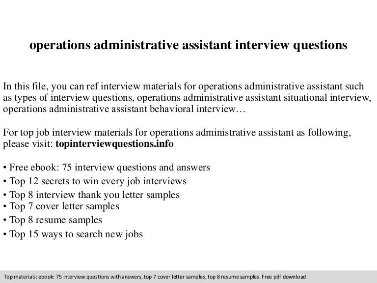 operations administrative assistant interview questions