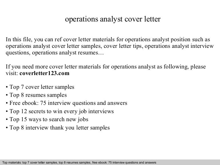 Operations analyst cover letter