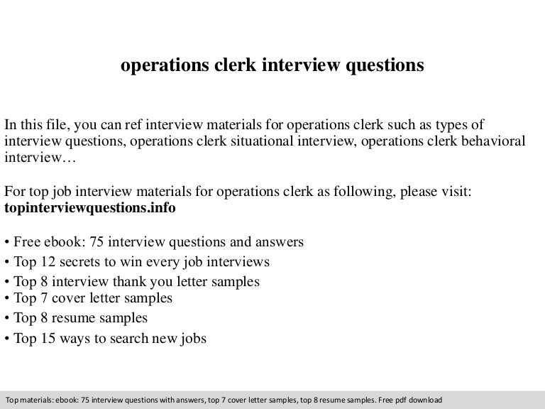 operations clerk interview questions - Operations Clerk Sample Resume