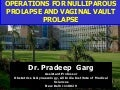 Operations For Nulliparous Prolapse And Vaginal Vault Prolapse, Mob: 7289915430, www.drpradeepgarg.com,