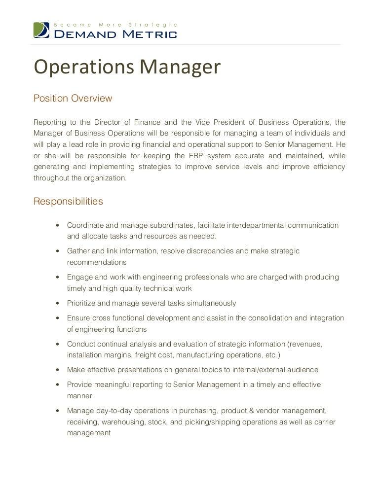 manufacturing manager job description sample