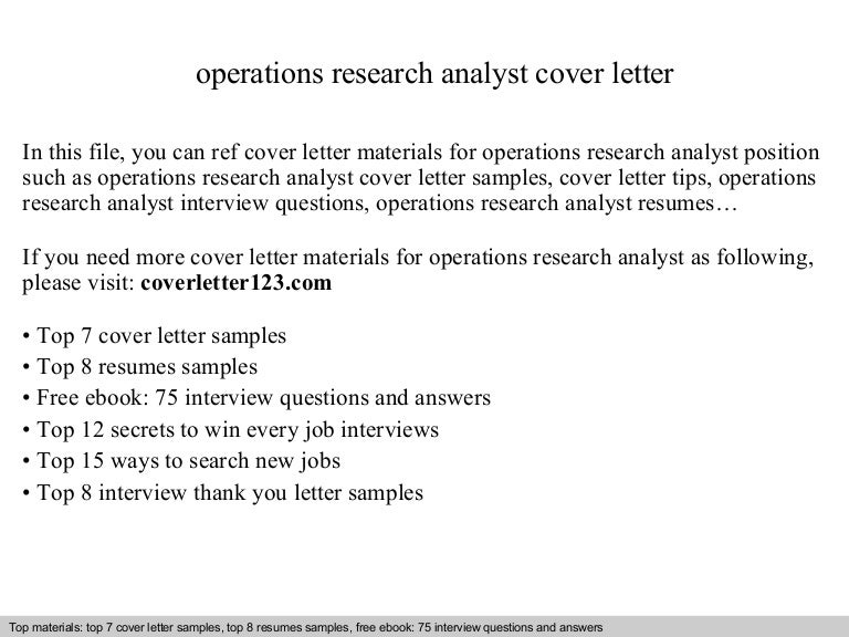 Operations research analyst cover letter
