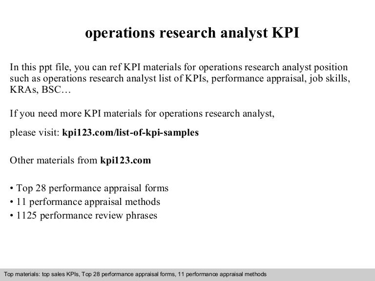 Operations Research Analyst Kpi