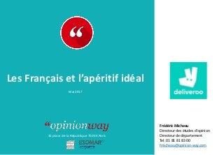 OpinionWay pour Deliveroo - Les Français et l'apéritif idéal / Mai 2017