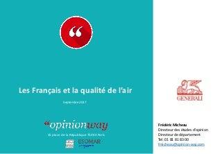 OpinionWay pour Generali - Les Français et la qualité de l'air / Septembre 2017