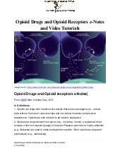 Opioid Drugs, Opioid Receptors-e-Notes and Video Tutorial