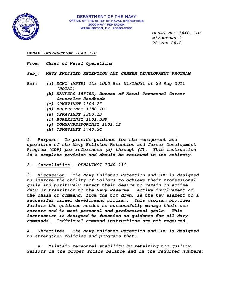 Opnavinst 104011 D Retention And Career Development Program