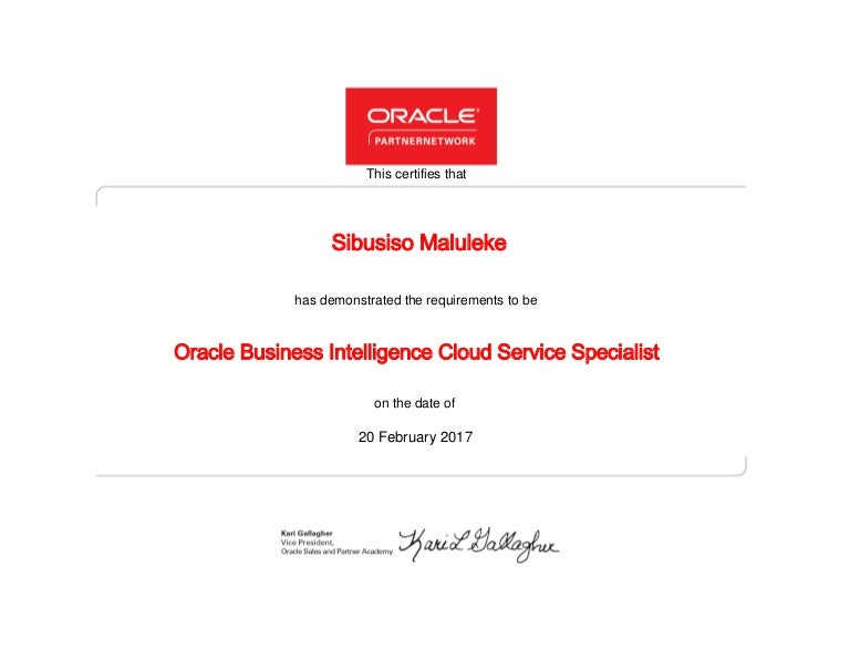 Oracle Business Intelligence Cloud Service Specialist