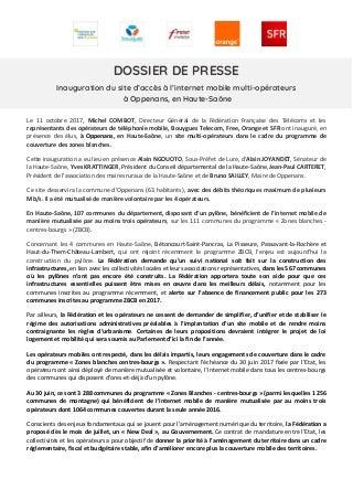 Internet mobile à Oppenans en Haute-Saône (dossier de presse)
