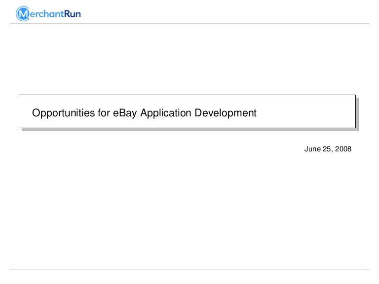 Opportunities For Ebay Application Development