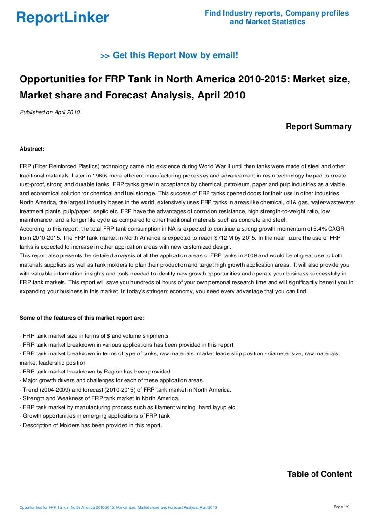 Opportunities for FRP Tank in North America 2010-2015: Market size, M…