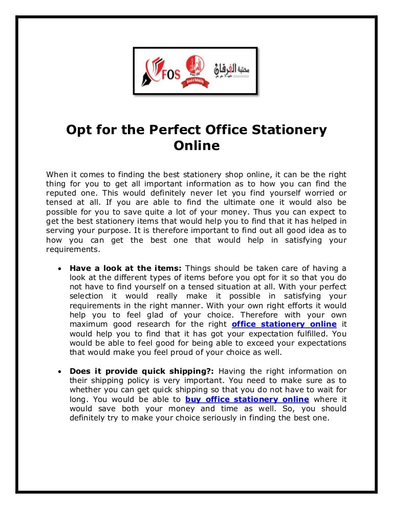 Opt for the perfect office stationery online