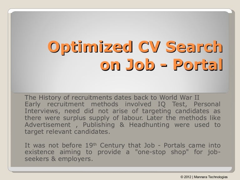 Cv Search On Job Portal