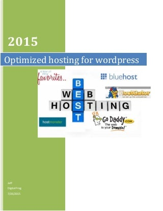 Optimized wordpress hosting price comparison for 2015 and 2016