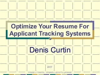 Optimize Your Resume (PMI) for Applicant Tracking Systems 2017