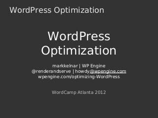 Optimizing wp