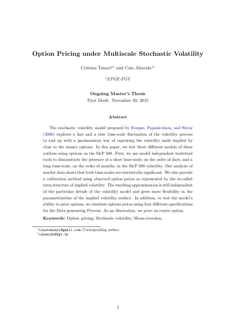 Local volatility master thesis