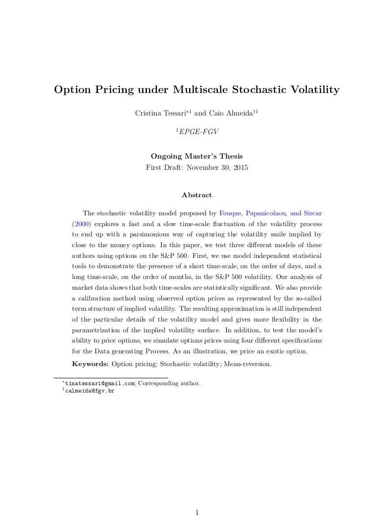 Local volatility master thesis