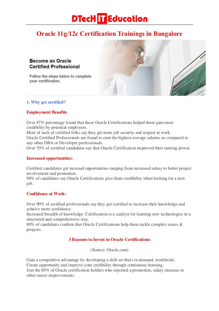 Dtech it education oracle certification training bangalore oracle 1betcityfo Image collections