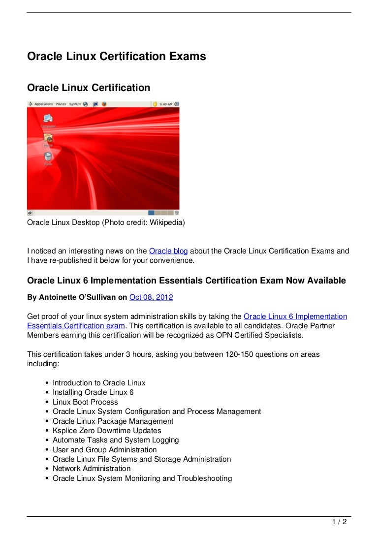 Oracle Linux Certification Exams
