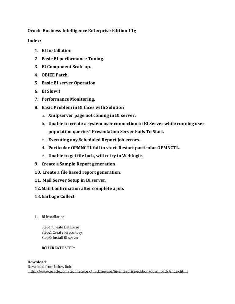 Oracle business intelligence enterprise edition 11g.